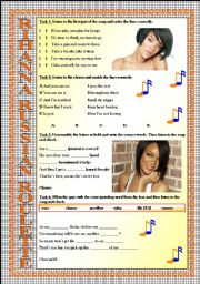 English Worksheets: Rihanna Russian Roulette LISTENING song-based activity (FULLY EDITABLE AND KEY INCLUDED!!!)
