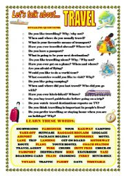 English Worksheets: LET�S TALK ABOUT TRAVEL (SPEAKING SERIES 7)