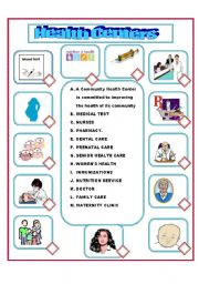 english worksheet health center vocabulary. Black Bedroom Furniture Sets. Home Design Ideas