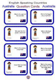 English Worksheet: English Speaking Countries - Question cards 2 - Australia