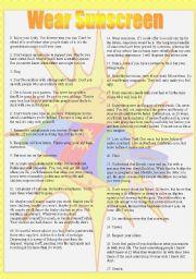English Worksheet: Essay/song: WEAR SUNSCREEN