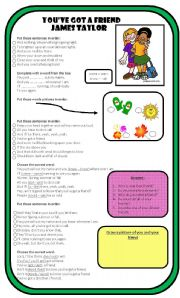 English Worksheet: Song: You've Got A Friend - By James Taylor