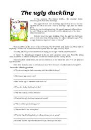 English Worksheet: The Ugly Duckling- Reading Comprehension exercise