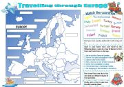 English Worksheet: Travelling through Europe