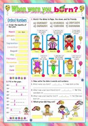 English Worksheet: Dates  -  Ordinal Numbers  -  When were you born?  (2)