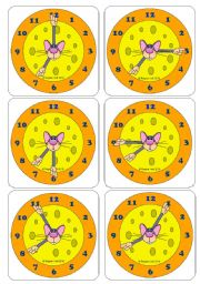 English Worksheet: Telling the Time with Tino Topolino - Flashcards (Picture cards & Word Cards) (Editable)