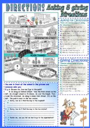English Worksheet: Asking&Giving Directions (a city map with lots of points to go)