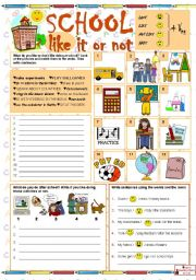 English Worksheets: SCHOOL - like it or not