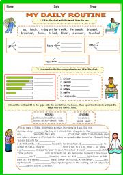 English Worksheet: DAILY ROUTINE Part 3 (Vocabulary and Present Simple - revision + key) 6 PAGES 9 EXERCISES