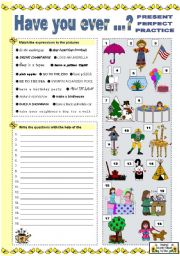 English Worksheet: HAVE YOU EVER ...? - PRESENT PERFECT PRACTICE