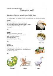 English Worksheets: what animal am I