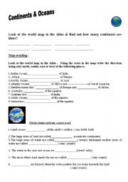 English Worksheet: Continents & Oceans