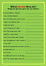 English worksheet: What SHOULD they do?
