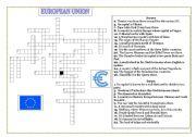 English Worksheet: EUROPEAN UNION MEMBERS- CROSSWORD