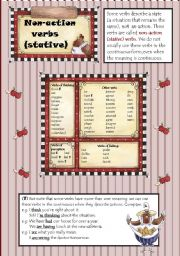 English Worksheet: Non-action(stative)verbs(2 pages)