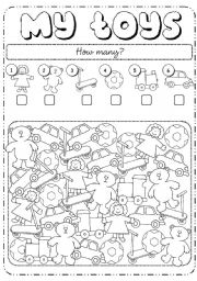 English Worksheets: How many toys?