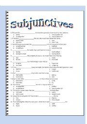 English Worksheet: Subjunctive Multiple Choice - Key Included