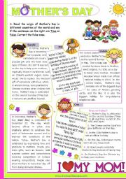 English Worksheet: Mother´s Day Around the World  -  Reading Comprehension