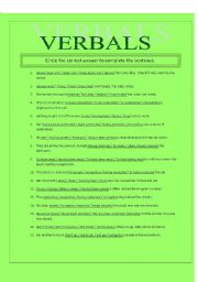 English worksheets: Verbals (Gerunds, Infinitives, Participles)