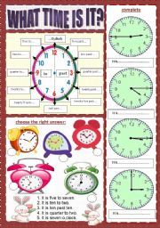 English Worksheet: WHAT TIME IS IT? (1/2) ****(editable)