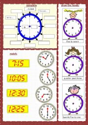 English Worksheet: WHAT TIME IS IT? (2/2) ****(editable)
