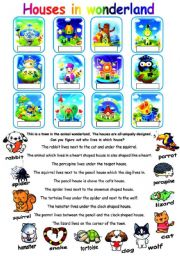 English Worksheets: Simple logic with animal and houses