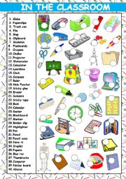 English Worksheets: IN THE CLASSROOM - 40 ITEMS (KEY AND B&W VERSION INCLUDED)