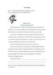 English worksheets: Reading: Mother Teresa