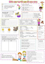 English Worksheets: Revision for beginners