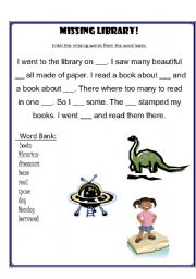 English teaching worksheets: At the library