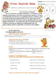 English Worksheets: Exam for the first term TV program