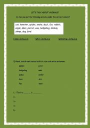 English Worksheets: Let�s talk about animals!