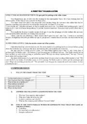 English Worksheet: a funny way to earn a living