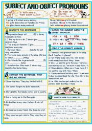 English Worksheet: PRONOUNS - SUBJECT AND OBJECT