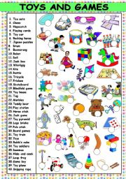 English Worksheets: TOYS AND GAMES - 40 ITEMS (KEY AND B&W VERSION INCLUDED)
