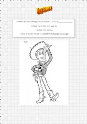 English Worksheet: Toy Story - Woody clothes/colouring in