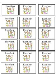 English Worksheets: excellent cards