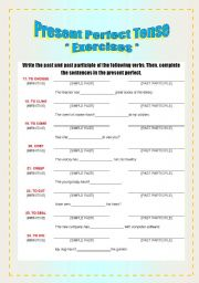 English worksheet: Exercises - Verbs & Present Perfect [2-8]