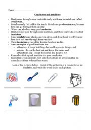 English Worksheets: Conductors and Insulators