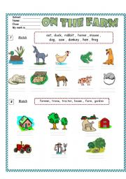 English Worksheets: Farm Animals /  Vocabulary & Writing ( for beginners)  3 pages
