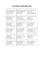 English Worksheets: The Famous Characters Game (Specially for Adults)
