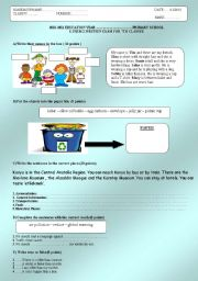 English Worksheet: 2011 1st term 2nd exam for 7th grade