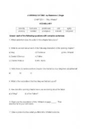 English Worksheets: A Wrinkle in Time, chapters 1-6:  Reading comprehension, vocabulary, and more