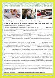 English Worksheet: DOES MODERN TECHNOLOGY AFFECT TEENS?