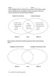 English Worksheets: Introducing the concept of compare and contrast with Venn Diagram