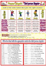 English Worksheets: Present simple (Third person Singular)