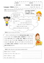 English Worksheet: end-of-term 7th form test
