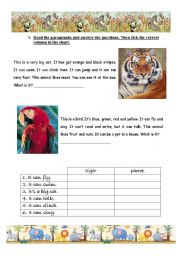 English Worksheets: Parrots and Tigers