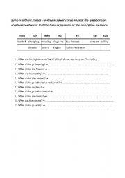 English Worksheets: daily dỉay