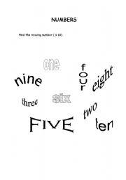 English worksheet: Find the missing number ( 1 - 10 )